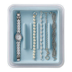 Neatnix - Jewelry Stax, Bracelet, Light Blue - Our unique, practical jewelry organizer offers a unique stacking and sliding feature, allowing you to utilize in-drawer or on-counter space to its fullest. Stacking and sliding trays are made of clear plastic and liners are made of flocked plastic with a velvety feel. Mix and match as your jewelry collection requires.