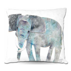 DiaNoche Designs - Pillow Woven Poplin - Elephant - Toss this decorative pillow on any bed, sofa or chair, and add personality to your chic and stylish decor. Lay your head against your new art and relax! Made of woven Poly-Poplin.  Includes a cushy supportive pillow insert, zipped inside. Dye Sublimation printing adheres the ink to the material for long life and durability. Double Sided Print, Machine Washable, Product may vary slightly from image.