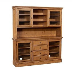 Tucker Buffet Hutch, Rustic Pine finish - Create a wall of cabinetry with the look of a built-in with our Tucker Wall Unit. The generously scaled buffet offers ample space for organizing dining essentials. Add the hutch for a dramatic display. 111.5'' wide x 16.5'' deep x 75'' high Crafted of hardwood and veneers. Hand finished in black, mahogany or rustic pine. Catalog / Internet Only. View our {{link path='pages/popups/fb-dining.html' class='popup' width='480' height='300'}}Furniture Brochure{{/link}}.