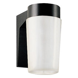 """Progress Lighting - 13w Hard-Nox Compact Fluorescent Outdoor Wall Lantern - Energy efficient, long-lasting lamps. White polycarbonate diffuser. Can be wall mounted. 120V NPF ballast. UL listed for wet locations. When shopping for outdoor lighting, be sure to select a design and size to complement your house while providing sufficient lighting for safety. Features: -Cast aluminum wall bracket. -UV stabilized polycarbonate ribbed diffuser. -Diffuser screws into aluminum bracket. -Wall mounted. -Covers any outlet box. -Outlet box mounting strap provided for center lock up mounting. -Standard Black finish with a clear prismatic diffuser. -GX23 base sockets, HPF ballast. -120V ballasts. -Minimum start temperatures + 32 F. -UL-CUL wet location listed. -Width/Diameter: 4-3/4"""". -Height: 8-1/2"""". -Depth Extension: 7-1/4"""". -Lamp Quantity: Two. -Lamp Type: Twin 2-pin Comp. Fl.. -Lamp Wattage: 13w. -HPF: Yes. -Energy Efficient. -Notes: H/CTR 3-7/8"""", lamp base GX23."""