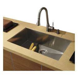 Vigo - Vigo Undermount Stainless Steel Kitchen Sink, Faucet and Dispenser - Vigo delivers top quality and unique design. Every detail is important Zero radius corners