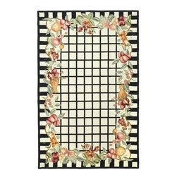 """Safavieh - Chelsea Rug, Ivory/Black, 8'-9"""" x 11'-9"""" - 100% pure virgin wool pile, hand-hooked to a durable cotton backing. American Country and turn-of-the-century European designs. This collection is handmade in China exclusively for Safavieh."""