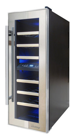 Vinotemp - Vinotemp - 21-Bottle Dual-Zone Mirrored Wine Cooler - Store your wine in style with Vinotemp's new 21-Bottle Thermoelectric Mirrored Wine Cooler. With its two independent temperature zones, this unique cooler allows you to store both red and white wines at their ideal temperatures. Featuring a black cabinet and dual pane glass door with mirrored trim, a patent-pending Vinotemp design exclusive. A quiet and vibration free thermoelectric cooling system maintains the ideal environment for your collection.