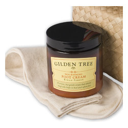 Gilden Tree - Essential Bedtime Foot Treatment Kit - A superior foot treatment kit helps heal dry skin and cracked heels. Gluten free. Safe for diabetics and celiacs.  Our 8 oz. jar of Nourishing Foot Cream is beautifully packaged with soft, natural cotton socks in a pretty pandan box.