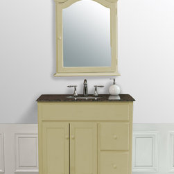 "Stufurhome - 36-Inch Yellow Cream Single Sink Vanity with Baltic Brown Granite Top & Mirror - Quaint and charming, the 36"" Yellow Cream Single Sink Vanity features a creamy yellow finish contrasting beautifully against the Baltic Brown Granite top. The cabinet itself sits atop curved bun feet and is enhanced with rustic-style paneled doors, complete with matching wooden knobs. Two storage drawers provide extra space and the included mirror adds to the overall look. Guests will marvel at your decorating ingenuity."