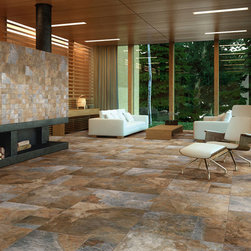 "Sintesi Newslate Living Room - Featured in this image are multiple sizes of Sentesi Ceramica's Series Newslate. The series comes in two product colors. This is the Multi-Dark. Newslate's slate stone look is produced by the latest HD Ink Jet Technology. The floor is composed by  the sizes 12"" x 24"", 18"" x 18"", and 24"" x 24"". The wall display's a 3"" X 3"" mosaic and 6"" x 6"" tiles."