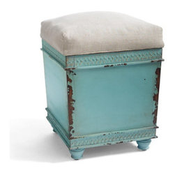 Grandin Road - Sawyer Storage Ottoman - Artfully antiqued storage ottoman. Base is crafted from engineered and solid mango wood. Wood base is detailed with a petite fretwork border and hand finished for a heavily distressed look. Topped with a removable, natural-hued, fabric-upholstered cushion. Interior finished in espresso-hued veneer, as is the framed, concealed tray on the flip side of the seat cushion. Add an extra seat, storage and an artful edge to any room; the Sawyer storage ottoman features a wonderfully distressed base, topped with a natural cushion. Each unique base is handcrafted from a sturdy mix of engineered and solid mango wood, hand painted with distinctive markings and steadied on coordinating turned feet, so it looks like an authentic antique. Natural-hued, fabric-upholstered cushion lifts off to reveal a clever storage space. Park yours under the sideboard in the dining room, station another in the guest room and fill it with throws – Sawyer is so versatile, and the decorating possibilities are endless.  .  .  .  .  . No two will be exactly alike . Arrives assembled . Imported.