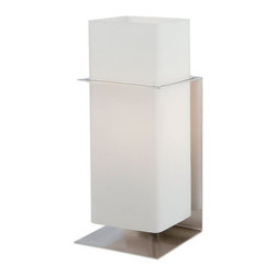 "Lite Source - Lite Source LS-21720 Single Light 12"" Up / Down Lighting Rectangular Steel Table - Contemporary / Modern Single Light 12"" Up / Down Lighting Rectangular Steel Table Lamp with Rectangular Frosted Glass Shade from the Emiliano CollectionSimple but not understated, this Emiliano table lamp cuts a striking figure. With crisp lines, it is certain to stand out.Features:"