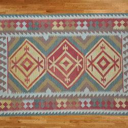 Kilim Qasqagi - Hand Woven 3'9'' X 6'1'' 100% Wool Flat Weave Vegetable Dyes Kilim Oriental Area Rug.
