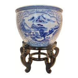 """Oriental furnishings - Blue and White Asian Porcelain Garden Pots Painted Landscape, 18 - Our unique Chinese 18"""" porcelain planter is also available in ,10"""",14"""" and 16 """"Diameters.These  are beautifully patterned with blue Asian floral line drawing and landscape panels that make an outstanding statement in any room. These planters are the perfect accent for home or garden. Water tight and hand painted with floral and arabesque in rich blue cobalt glaze. We suggest a  Oriental vase stand for added elegance and display. Use in a grouping with other blue and white porcelains on a table top for an eye catching grouping. Use as a planter on the ground or on a table top."""