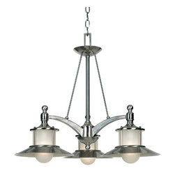 Quoizel Lighting - Nautical Chandelier with Three Lights - NA5103BN - Nautical motifs are all the rage and this three-light chandelier will bring that flavor to your home. Frosted glass diffuses the light, reducing glare. Includes eight feet of chain. Takes (3) 100-watt incandescent A19 bulb(s). Bulb(s) sold separately. ETL listed. Dry location rated.