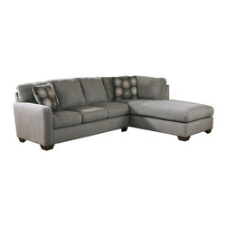 Signature Design by Ashley - Zella RAF Chaise Sectional in Charcoal - Ashley Furniture continues to strategically develop new products and aggressively tailor their operations to address the demands of their customers. As the world's largest manufacturer of furniture, Ashley strive to exceed the expectations of their retail partners and consumers across the globe. Ashley's vision is to be the best furniture company, striving for nothing less than earning the loyalty and trust of their employees and customers every day.