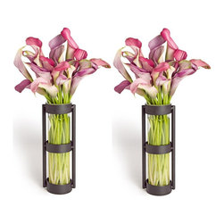 Danya B - Metal Stand Glass Cylinder Vases - Set of 2 - Set of 2. Decorative accessory made of recycled glass and iron. Glass vases are easily removable for cleaning. For use with natural or artificial flowers. 2.75 in. L x 2.25 in. W x 8 in. H (0.9 lbs)