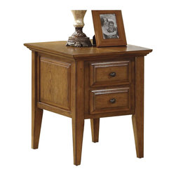 Riverside Furniture - Riverside Furniture Oak Ridge 2 Drawer End Table in Warm Oak - Riverside Furniture - End Tables - 4409 - The Arkansas River Valley is home of majestic forests, ruggedly beautiful mountains, gurgling brooks and swiftly flowing rivers. It is also the home of Riverside Furniture Corporation. But like they would with any old friend, most folks refer to us just by our first name.