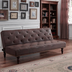 Dorel Home Products - DHP Charleston Brown Vintage Futon - This futon's brushed microfiber upholstery,classic diamond tufting and wood scroll legs provide the ultimate vintage look. Further,the individually placed,hand-crafted nail heads add individuality to each piece.