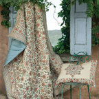 Tala Floral Quilt - While on their world travels, our designers fell in love with a 17th century Persian floor covering and decided to reinterpret it as a stunning theme for the bed. Centered with an intricate medallion, the Tala quilt is landscaped with an abundance of ripe fruits and flowering vines. Hued in time-mellowed shades of cinnabar, terracotta, steel blue and sand to echo the original textile's faded beauty, this gorgeous design is printed on silky-smooth cotton. The matching sham (sold separately) depicts the same floral medallion on a sandy ground and is framed with a contrast floral border.