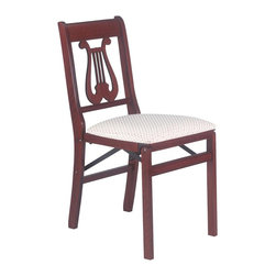 Stakmore - Music Back Folding Chair in Warm Cherry Finis - Lyrical style meets luxurious comfort with this pair of folding chairs. Each chair features solid wood construction and a music-themed back, with hints of a harp design. The chairs are finished with a warm cherry stain and are appointed with upholstered seats. Set of 2. Traditional style. Music clef in back. Steel folding mechanism. Padded upholstered seat. Folds up to 7 in. deep for storage. Made from solid hardwood. No assembly required. 19.25 in. W x 16.5 in. D x 33 in. H. Seat height: 18.75 in.