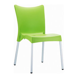 Compamia - Juliette Resin Dining Chair Apple Green - Set of 2 - Juliette dining chair. Made from commercial grade resin with rust free aluminum legs. Great for outdoor spaces, patios and decks. Used by restaurants, cafes and hotels. Color apple green.