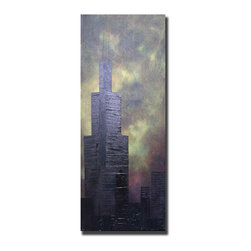 Casarietti Studio - Chicago Willis Tower 16 x 40 original cityscape painting - Chicago Willis Tower is a collaborative original acrylic painting that measures 16 x 40 x 1.5 gallery wrapped and ready to hang.  The piece is created with many, many layers of green, purple, blue and gold paint. Rich colors and textures emerge as a skyline of Chicago.  We use a variety of thicknesses and textures to bring dimension, depth, movement and feeling to the piece. This piece is part of our 2014 series of Chicago cityscapes