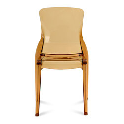 DomItalia Furniture - Crystal Stacking Dining Chair in Amber (Set of 4) - With good looks, sharp wit and concern for the environment, the Crystal Stacking Dining Chair in Amber Set of 4) is an accent piece you can't pass up. Crystal chair is made of high quality materials that will exhibit normal wear. Please note that, with normal use, surface marking will occur. This is particularly true with Black.