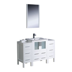 """Fresca - Fresca Torino 48"""" Modern Bathroom Vanity, White - Fresca is pleased to usher in a new age of customization with the introduction of its Torino line. The frosted glass panels of the doors balance out the sleek and modern lines of Torino, making it fit perfectly in either 'Town' or 'Country' décor."""