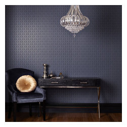 Graham & Brown - Cinema Wallpaper - We were inspired by the intricate interiors of the art deco theatres, Cinema's simple arches layer and repeat to reveal a sophisticated geometric blue and silver pattern, this will look good in any room in your home.