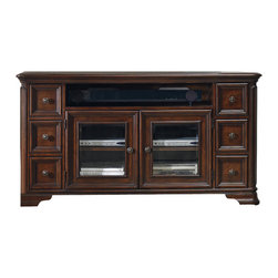 "Hooker Furniture - Hooker Furniture Haddon Hall 64in. Entertainment Console - Old world charm comes shining through with the Haddon Hall collection. Crafted with poplar solids and cathedral knotty cherry veneers it adds just the right touch to your home. One center channel speaker area. Six drawers. Top two drawers have removable CD/DVD dividers. Two wood-framed beveled glass doors with an adjustable shelf behind each door. One three plug electrical outlet Center channel speaker opening: 37 15/16W x 18 7/16D x 6H. Poplar Solids and Cathedral Knotty Cherry Veneers. Dimensions: 64""W x 20""D x 34""H."