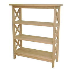 International Concepts - 4 Tier X-Sided Unfinished Shelf Unit - 2 Adjustable shelves. Made of Solid Parawood. Assembly required. 30 in. W x 12 in. D x 36 in. H (40 lbs.)