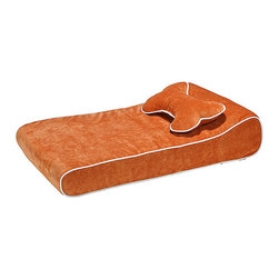 """Frontgate - Memory Foam Countour Pet Lounger Dog Bed - Includes coordinating bone pillow. Suitable for indoor or outdoor use. Micro twill cover has same feel and appearance as cotton. Contrast piping. """"Open cell"""" foam technology dries quicker than traditional pet bed fiber stuffing. Our Memory Foam Contour Pet Lounger is the ultimate relaxing spot for your beloved pet. Made from a single piece of soft """"open cell' foam with a molded headrest, this luxurious pet bed is vibrant in color and cozy in comfort.  .  .  .  . """"Open cell' foam technology dries quicker than traditional pet bed fiber stuffing . Cover is machine washable and dryable ."""