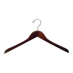 Proman - Gemini concave Coat Hanger - Gemini-concave coat hanger, light walnut finish, chrome,50 pcs/case. Concave coat hanger. Chrome hardware.