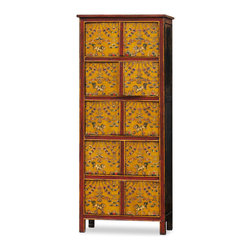 "China Furniture and Arts - Hand Painted Tibetan 10 Door Cabinet - Decorated with exuberant colors, the exotic Tibetan furniture art is manifested in this multi-compartment cabinet. The cheerful color represents the personality of Tibetan people who are passionate about life. Features 10 doors, and is perfect for adding additional storage space. The five separate interior compartments each measure 27.5""W x 12""D x 14""H. Great for foyer, living room and media room. Handcrafted of Elmwood and masterfully hand-painted by Tibetan artists. It is a one-of-a-kind item and will last for generations to admire. (Fully assembled)."