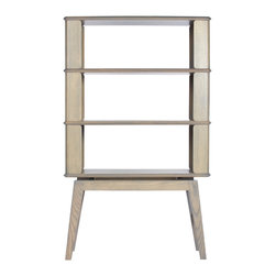Debra Folz Design - Case Storage, White Oak, 3 Tier - CASE storage explores a form which wraps around and surrounds your belongings. Each shelf protrudes beyond its panels to articulate each layer/ segment of this piece.  Thoughtfully hand crafted in the USA through a combination of traditional woodworking and bent lamination techniques. Shown here in Ash with gray stain.