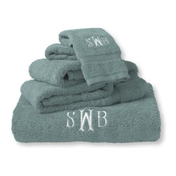 Ultra-Absorbent Cotton Towel, Soft Teal - Getting out of a warm shower is tough, but I think these super soft monogrammed towels might just be able to motivate me.