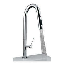 MaestroBath - Designer Slim D30 Modern Kithcen Faucet, Brushed Nickel - This modern single handle kitchen faucet with pull out dual shower is a beautiful focal point in any kitchen. The high end Italian faucet can accommodate any type of kitchen sink. The contemporary faucet is easy to install, keep clean and maintain. Slimd D30 Designer kitvhen faucet is also available in chrome and brushed nickel finish. Whether your decorating style is traditional or modern, Maestrobath products will compliment your home improvement project and add a lavish, luxurious feel while protecting your health, safety and the environment.