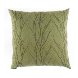 "Canaan - 24"" x 24"" Grove Stick and Twig Pattern Throw Pillow - 24"" x 24"" Grove stick and twig pattern throw pillow with a feather/down insert and zippered removable cover. These pillows feature a zippered removable 24"" x 24"" cover with a feather/down insert. Measures 24"" x 24"". These are custom made in the U.S.A and take 4-6 weeks lead time for production."