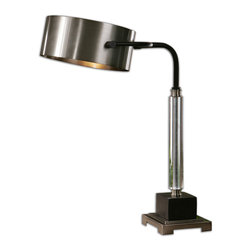 Uttermost - Belding Desk Lamp - You won't even mind working on dull spreadsheets under the glow of this modern desk lamp. Its luster is enhanced by its antiqued, brushed aluminum finish accented by distressed, dark-chocolate bronze details. And its easily adjustable, shiny, round metal drum shade comes in matching softly antiqued brushed aluminum.