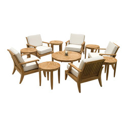 Westminster Teak Furniture - Laguna 11pc Premium Teak Conversation Set - The design of the Laguna Collection of teak armchairs, coffee, and side tables is inspired by the lifestyle of casual luxury that evokes the carefree style of a bygone era. Its generous proportions and attention to detail easily allows it to blend well with both traditional and modern styles.  Lifetime Warranty on all teak conversation sets.