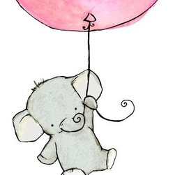 Nursery Art, Flying High Girlie Pink Balloon by Trafalgar's Square - Etsy shop Trafalgar's Square is one of my absolute favorite destinations for irresistible nursery art. These whimsical little drawings make me melt.