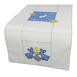Xia Home Fashions - Baby Bunnies 16 By 34-Inch Table Runner - Precious blue bunnies with flower and Easter egg with green stitch trim. Great for Easter decor and cheerful accent for your family Easter gatherings!