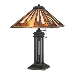 Quoizel Lighting - Quoizel TF1176TVB Hathaway Tiffany Vintage Bronze Table Lamp - 2, 75W A19 Medium