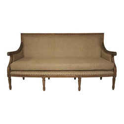 NOIR - NOIR Furniture - Isabelle Sofa - , Grey Wash - Featuring natural, simple and classic designs, Noir products supply a timeless complement to a variety of interiors. A gracefully carved mindi hardwood frame has a vintage gray finish for antique appeal on the Isabelle sofa. Burlap upholstery contemporized with nailhead trim provides sleek flair, delivering high style to living rooms. Do not use furniture cleaner.
