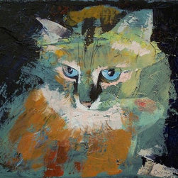 """Epic Art LLC - Himalayan Cat By Michael Creese 18""""X23"""" Gallery Wrapped Canvas - Michael Creese paints in the oil impasto style, a technique used in art where paint is laid thickly on canvas, leaving visible brush (or palette knife) strokes. When dried, impasto provides a great deal of texture to finished paintings."""