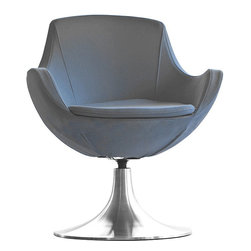 Dupont Swivel Chair by Nuans Design - With an almost royal appearance, the Dupont offers 180º swivel on an aluminum disc base. This unique chair is sure to capture the spotlight in any setting.