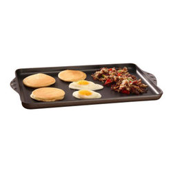 Swiss Diamond - Nonstick Double-Burner Griddle - Pancakes, fried eggs, grilled cheese all have one thing in common: they can be messy to clean up. Swiss Diamonds Nonstick Double-Burner Griddle puts an end to that with its easy to clean state-of-the-art diamond nonstick coating. This double burner griddle allows you more room to cook your favorites from breakfast, lunch or dinner without the mess and hassle of an electric griddle. Made from cast aluminum the heat will spread evenly over the entire 17 x 11 inch cooking surface from end to end with no hot spots. Also use it as a baking sheet to finish those drop biscuits or sugar cookies - they will slide right off instead of sticking to your pan. Oven safe up to 500 F.