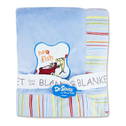 "Trend Lab - Receiving Blanket - Framed Dr. Seuss One Fish Two Fish - Keep your little one warm and secure with this Dr. Seuss One fish two fish Framed Receiving Blanket by Trend Lab. Soft blue velour is surrounded by a charming cotton percale trim that features a stripe print in avocado green, barn red, sunshine yellow, cornflower blue and powder blue. ""New fish"" embroidery in the bottom right hand corner adds the finishing touch! Blanket measures 30"" x 40"". Product sold under license from Dr. Seuss Enterprises, L.P."