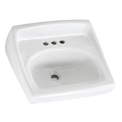 "American Standard - American Standard 0356.137.020 Lucerne Wall-Hung Sink w/ Lotion Dispenser, White - American Standard 0356.137.020 Lucerne Wall-Hung Sink w/extra hole for Lotion Dispenser, White. This wall-hung lavatory is constructed of vitreous china, and includes a front overflow, a concealed wall-hanger mounting, a D-shaped bowl, a self-draining deck area with contoured back and side splash shields, and a faucet ledge. This model comes with a single, centered faucet mounting hole with an extra right-hand hole, and it measures 20-1/2"" by 18-1/4"", with a 6-1/2"" bowl depth."