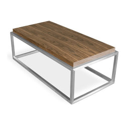 Gus Modern - Drake Coffee Table, Walnut, Coffee Table-Rectangle - A sculptural coffee table constructed with a cubist, stainless steel base and choice of wood or multi-coat lacquer finish. The Drake is available in square or rectangular formats.