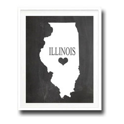 "Kshoo Design - Illinois State Print, Frame Not Included, 16""x20"" - -Faux chalkboard background"