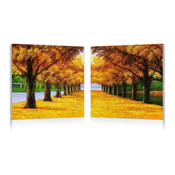 """Wholesale Interiors - Autumnal Boulevard Mounted Print Diptych - The telltale sign of a change in seasons, a blanket of golden leaves covers the path in this two-piece modern wall art set. Ready-to-hang MDF wood frames are covered with waterproof vinyl canvas, on which the prints of this oil painting are mounted. The Autumnal Boulevard Modern Wall Diptych is made in China, is ready to hang, but does not include mounting hardware. Easily maintain a dust-free appearance by wiping the frames clean with a dry cloth. Product dimension: 19.68""""W x 1""""D x 19.68""""H."""