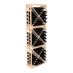 Wine Racks America - Full Height Diamond Bin Kit in Pine, Satin Finish - A unique wine rack designed for longevity and simple wine storage. Engineered with our modular cellar specifications for seamless integration with any of our modular wine rack kits. Functions well as either a freestanding wine rack or as part of a complete wine cellar design.